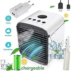 Climatiseur Portable Air Mini Cooler - 3 en 1 Rafraichisseur d'air Ventilateur, Mobile Climatiseur, Humidificateur Purificateur,Anti-Fuites, Nouveau Filtre (New, Rechargeable + Adaptateur)