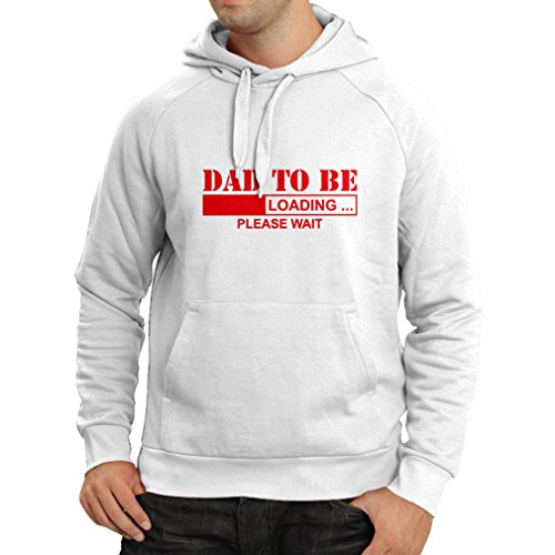 Sweatshirt à capuche manches longues Papa àêtre - Chargement de nouveaux cadeaux d'amusement de Père t-shirt pour le papa (Medium Blanc Rouge)