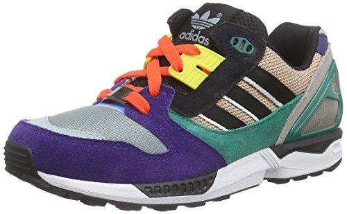 adidas ZX 8000 - Zapatillas para hombre, color morado / gris / verde / negro, talla 43 1/3