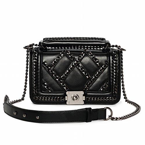 mode Weibliche unregelmäßige Lingge Kette paket handtasche Schulter messenger bag Schwarz