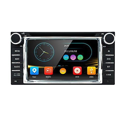 HIZPO Car in Dash Stereo 2Din GPS DVD Player Navigation Radio support BT/SWC/Rear camera/Subwoofer fit for TOYOTA (Dash Dvd-player In Bluetooth)