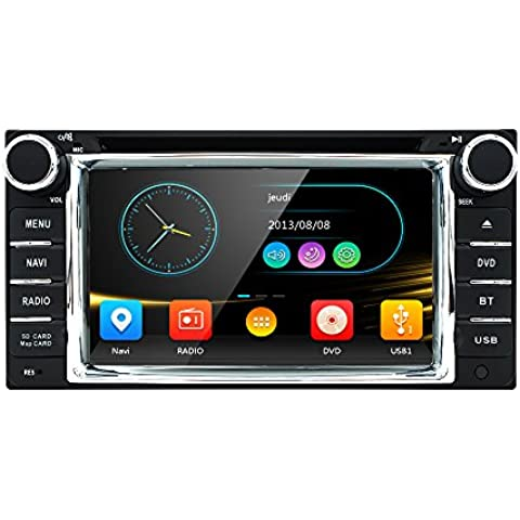 HIZPO Car in Dash Stereo 2Din GPS DVD Player Navigation Radio support BT/SWC/Rear camera/Subwoofer fit (2003 Rav4 Di Toyota)