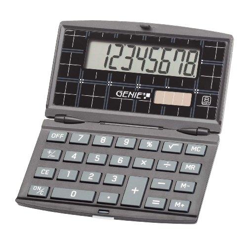 Genie 200 8-stelliger klappbarer Taschenrechner (Dual-Power (Solar und Batterie), schickes Design) schwarz