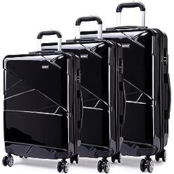 Kono Sets de Bagages Haute qualité PC/Serrure à Combinaison/4 Roue/Noir Set de 3 Valises