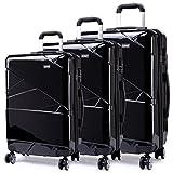 Kono Sets de Bagages Haute qualité PC/Serrure à Combinaison/4 Roue/Noir Set de 3...