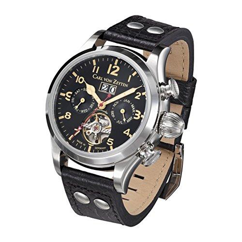 Carl von Zeyten Herren Analog Automatik Uhr mit Leder Armband CVZ0025BK