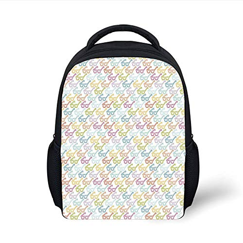Kids School Backpack Indie,Colorful Pattern with Classical Old Fashioned Eyeglasses Nerd Smart Hipster Doodle,Multicolor Plain Bookbag Travel Daypack