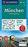 KOMPASS Wanderkarte München und Umgebung: 2 Wanderkarten 1:50000 im Set inklusive Karte zur offline Verwendung in der KOMPASS-App. Fahrradfahren.: ... 1:50 000 (KOMPASS-Wanderkarten, Band 184)