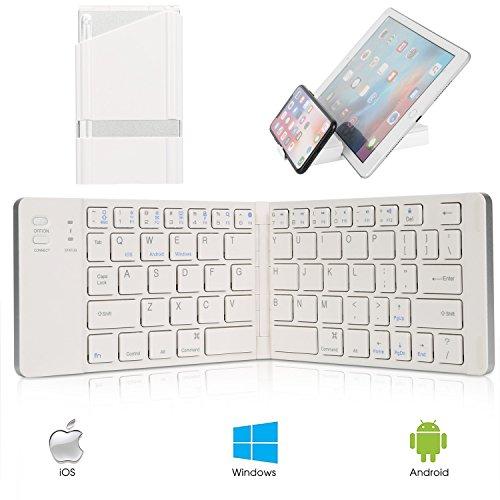 IKOS Tastiera Bluetooth Mini Portatile Pieghevole Tastiera Senza Fili Piccola Ultra Sottile Universale Ripiegabile Tastiera QWERTY Layout per iPhone iPad Air Pro iOS, Android, Windows Smartphone Tablet PC Microsoft