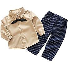 Wongfon Bambino Ragazzi Top a camicia cotta e pantaloni a righe attrezzatura Piccolo Signore Abbigliamento per bambini 0-2 anni Abbigliamento per bambini 0-2 anni