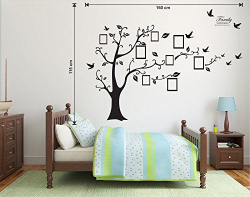 Luke and Lilly Black tree with Frame Shape Hanging wall sticker( PVC Vinyl, 160 cm x 115 cm)