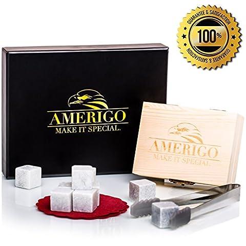 Luxus Whisky Steine Geschenkset von Amerigo - Set von 9 Whisky Felsen - Wiederverwendbare trinken Whiskey Kühlsteine - Geschenk Set mit handgefertigten Holzkiste, Edelstahl Zange und Untersetzer - Premium Piccoli Animali