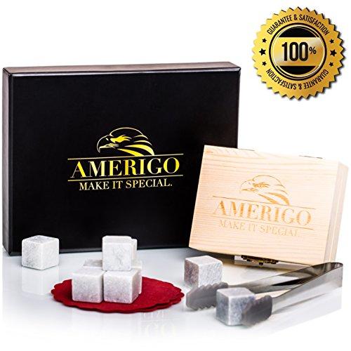 Luxus Whisky Steine Geschenkset von Amerigo - Set von 9 Whisky Felsen - Wiederverwendbare trinken Whiskey Kühlsteine - Geschenk Set mit handgefertigten Holzkiste, Edelstahl Zange und Untersetzer