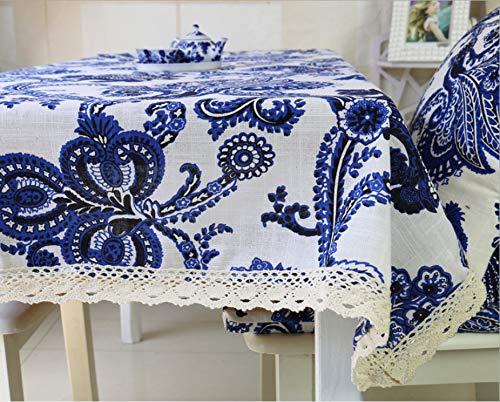 Baumwolle Und Leinen Waschbar Chinesische Klassische Verdickung Tischdecke Blau Weiß Porzellan Couchtisch Abdeckung Tuch Dekoration Rechteckige Tischdecke