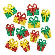 Baker Ross AX310 Julklapp Glitter Klistermärken, Paket med 96