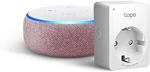 Echo Dot (3ª generazione) - Tessuto malva +Tapo P100 Presa intelligente Wi-Fi, compatibile con Alexa