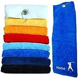 Nashville print factory Golf-Handtuch Bestickt mit Motiv Golfer und deinem Namen | Golftuch Handtuch 45x45 cm (Royalblau)