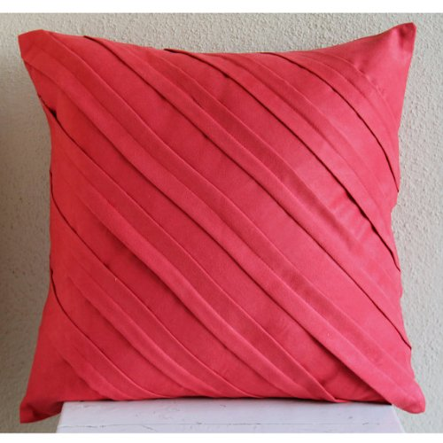 Rosso Buttare Le Federe, Texture Nervature Tinta Unita Federe, 35x35
