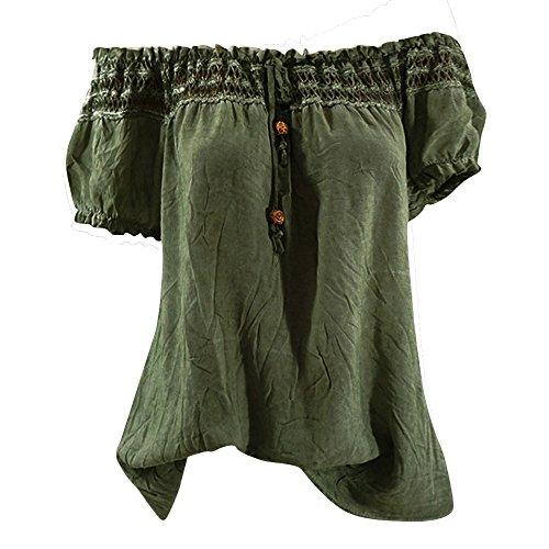 OverDose Damen Blumen Spitze Tops Frauen Kurzarm V-Ausschnitt Spitze Gedruckte Lose T-Shirt Bluse Oberteile Tees Shirt(X-a-Grün,EU-38/CN-M) (Gedruckt Baumwolle Wolle)