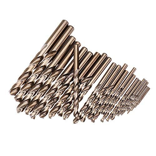 Xueliee - Set di punte elicoidali per trapano in cobalto HSS M35, 25 pezzi, 1-13 mm