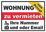 HB_Druck Wohnung zu vermieten von privat Schild A4 (210x297mm)