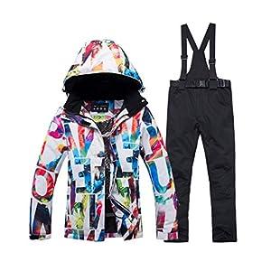 moonWANG Damen Skianzug 2-teilig Wasserdichter Skianzug Winddicht Skijackenhose für Damen