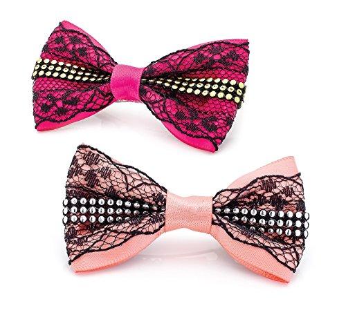 Zwei Stück Peach Pink Lace Schleife Design Hair Clips Griffe Haarspange Set Zubehör für Mädchen Kinder Frauen Peach Pink Lace