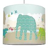 anna wand Lampenschirm SUNNY SAFARI - Schirm für Kinder/Baby Lampe mit Tieren aus Afrika in versch. Farben – Sanftes Licht für Tisch-, Steh- & Hängelampe im Kinderzimmer Mädchen & Junge