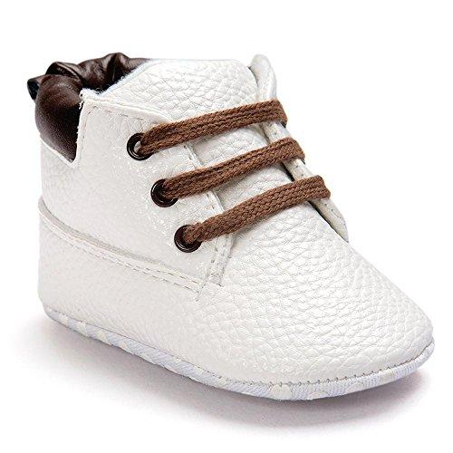 Malloom Bebé niño cuero suela suave infantil niños niñas zapatos (12cm ( 6-12 meses ), blanco)