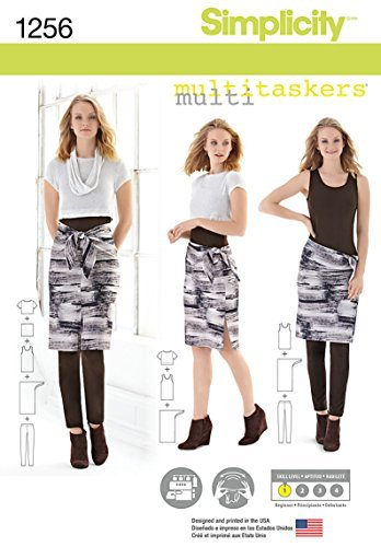 Simplicity Multitaskers Beginner Pattern 1256 Misses Easy Knit Leggings, Tank-top, Crop Tee, Sarong, Size 4-26 by Simplicity Creative Patterns - Sarong Tank