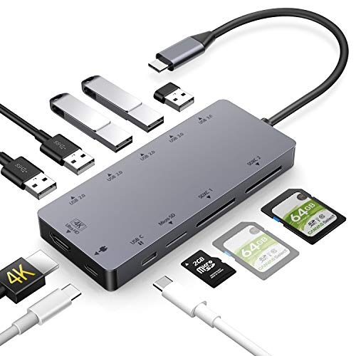 USB C Hub 11 in 1 Dex Station mit HDMI 4K,USB 3.0, Aufladung,Unterstützt SD/SDHC/SDXC/Micro sd/ Kartenleser OTG Type C Dock Kompatibel with MacBook Pro 2017/ 2018,Samsung S8/S9 Farbe Micro Video