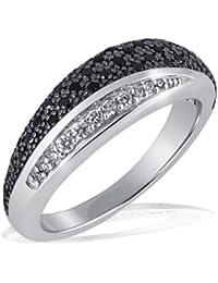 Goldmaid - Pa R4173S54 - Black & White - Bague Femme - Argent 925/1000 5.0 gr - Oxyde de Zirconium - 42 noirs et 8 blancs - T 54