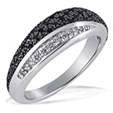 goldmaid Damen-Ring Silber 925 8 weisse und 42 schwarze Zirkonia Pavee Grösse 60 Pa R4173S60 Schmuck