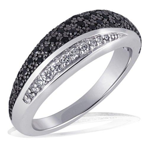 goldmaid Damen-Ring Silber 925 8 weisse und 42 schwarze Zirkonia Pavee Grösse 58 Pa R4173S58 Schmuck