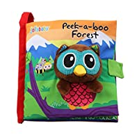 Amazemarket Baby Infant Toddler 3D Toy Non-Toxic Soft Animal Cloth Book Cognize Early Visual Development Kids Plush Puzzle Education (owl)