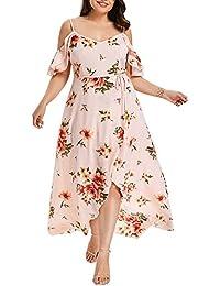 VEMOW Plus Size Elegante Damen Frauen Casual Kurzarm Kalt Schulter Boho  Blumendruck Casual Täglichen Party Strand Langes Kleid… 6017d0733c