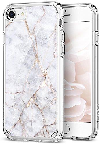iPhone 8 Hülle, Spigen [Ultra Hybrid 2 Marble] Luftpolster Technologie [Carrara Weiß] Einteilige Transparent Handyhülle Marmor Muster PC Rückschale mit Silikon TPU Bumper Schutzhülle für iPhone 7 Case Cover - Carrara White (054CS24049)
