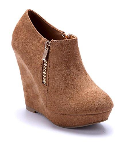 Schuhtempel24 Damen Schuhe Ankle Boots Stiefel Stiefeletten Camel Keilabsatz Reißverschluss 12 cm High Heels