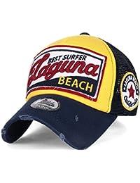 """ililily Baseballkappe: """"LAGUNA Beach"""" Aufschrift, klassischer Stil, abgenutztes Aussehen, Truckerkappe, Hut, Snapback, Baseball Cap"""