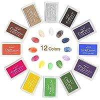 Mture Almohadilla Tinta para Sello Tampón,12 colores disponibles para Madera Papel Tela para sellos de goma, Niños No Tóxico