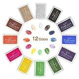 Tampone di Inchiostro, Mture 12 colori tampone inchiostro per timbri timbro cuscinetto inchiostro per fai da te e uso su carta,legno,tessuti