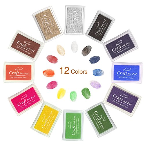 Mture Ink Pads For Use with any Rubber Art/Craft Stamps, Non-Toxic Baby Safe Ink Pad (12 Colors a set)