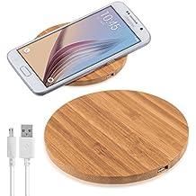 kalibri Cargador Qi inalámbrico con carcasa de madera, adecuado para todo dispositivo compatible con la tecnología Qi, como Nokia HTC LG Apple y Samsung.
