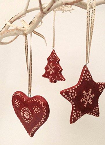 Homes On Trend Set von 3 Keramik rote und weiße Festliche Stern-Herz-Weihnachtsbaumschmuck