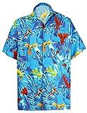 LA LEELA Likre Spiaggia Casuale Aloha Pulsante Hawaiano Uomini Giù Camicia Blu XXL