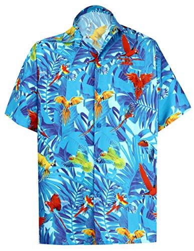 LA LEELA Casual Hawaiana Camisa para Hombre Señores Manga Corta Bolsillo Delantero Surf Palmeras Caballeros Playa Aloha XL-(in cms):121-132 Azul_W601