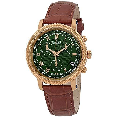 Charmex Men's President II 42mm Brown Leather Band Swiss Quartz Watch 29891