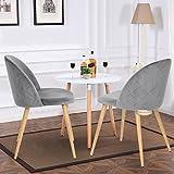 Esszimmerstuhl Coavas samt weich Kissen Sitz und Rücken mit hölzernen Metallbeine Küche Stühle für Ess - und wohnzimmer Stühle Set von 2, Grau - 3