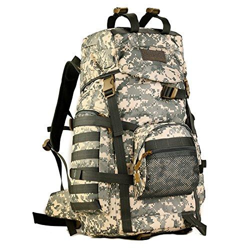 VERTTEE 60L Camping Outdoor Rucksack Trekkingrucks?cke Wanderrucks?cke Freizeitrucksack Tasche Bag Radfahren Reiten Reisetaschen Camouflage Tarnung Camouflage ACU digital