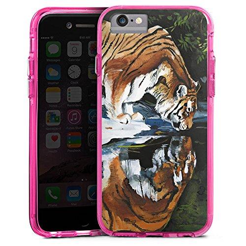 Apple iPhone 6s Bumper Hülle Bumper Case Glitzer Hülle Tiger Water Wasser Bumper Case transparent pink